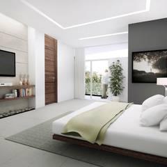 TORRE LAS FUENTES: Recámaras de estilo moderno por TREVINO.CHABRAND | Architectural Studio