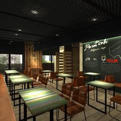 比利時連鎖餐飲.大直旗艦店.3D圖:  酒吧&夜店 by 東之光室內裝修設計有限公司,