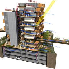 Sección Bioclimática: Casas de estilo  por AbiOS Estudio de Arquitectura