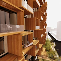 Perspectiva Fachada Norte: Casas de estilo  por AbiOS Estudio de Arquitectura