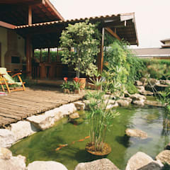 JARDIM ORIENTAL COM LAGO PARA CARPAS: Jardins  por Eduardo Luppi Paisagismo Ltda.