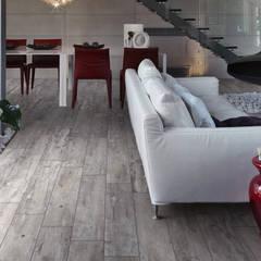 Gres porcellanato effetto legno grigio - TI 1001: Soggiorno in stile  di ItalianGres