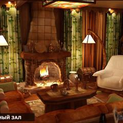 Дизайн-проект фасада дома и интерьера в стиле шале: Гостиная в . Автор – Студия интерьера Дениса Серова