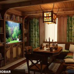 Дизайн-проект фасада дома и интерьера в стиле шале: Столовые комнаты в . Автор – Студия интерьера Дениса Серова