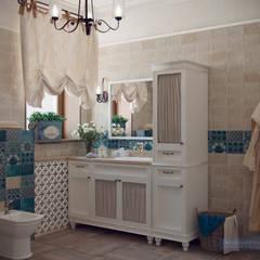 Дизайн-проект дома в стиле прованс площадью 300 кв.м: Ванные комнаты в . Автор – Студия интерьера Дениса Серова