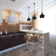 Дизайн-проект трехкомнатной квартиры 90 кв. метров в современном стиле в Москве: Кухни в . Автор – Студия интерьера Дениса Серова