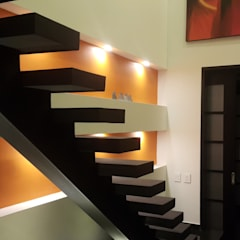 Escalera habitación principal: Pasillos y vestíbulos de estilo  por Camilo Pulido Arquitectos