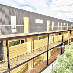 Diseño de Edificio Residencial MA en Valdivia por NidoSur Arquitectos: Condominios de estilo  por NidoSur Arquitectos - Valdivia, Moderno