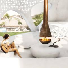 Organische woonkamer in een energie-autarkische villa in Almere:  Woonkamer door OLA architecten