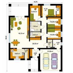 Rzut parteru projektu domu Decyma 9: styl , w kategorii Ściany zaprojektowany przez Biuro Projektów MTM Styl - domywstylu.pl