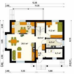 Projekt domu Aloes: styl , w kategorii Ściany zaprojektowany przez Biuro Projektów MTM Styl - domywstylu.pl