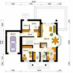Projekt domu Wilga: styl , w kategorii Ściany zaprojektowany przez Biuro Projektów MTM Styl - domywstylu.pl