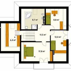 Rzut poddasza projektu domu Wilga: styl , w kategorii Ściany zaprojektowany przez Biuro Projektów MTM Styl - domywstylu.pl