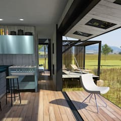 Pop Up retreat - Shipping Container living:  Garden by Edge Design Studio Architects,