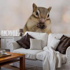 Squirrel Eating Nut Wall Mural Livings de estilo moderno de Wallsauce.com Moderno