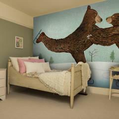 'Coworking' Bear Wallpaper Dormitorios infantiles de estilo moderno de Wallsauce.com Moderno