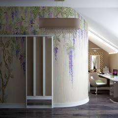 Дизайн кабинета (гардеробной) в доме по ул. Первомайская, г.Краснодар: Рабочие кабинеты в . Автор – Студия интерьерного дизайна happy.design,