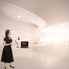 Organische werkruimte in energie-autarkisch villa, Almere: minimalistische Studeerkamer/kantoor door OLA architecten