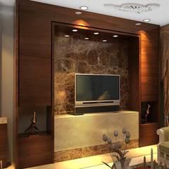 تشطيب برج البراء :  غرفة المعيشة تنفيذ القصر للدهانات والديكور