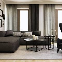 Salon w ciepłych barwach: styl , w kategorii Salon zaprojektowany przez MONOstudio