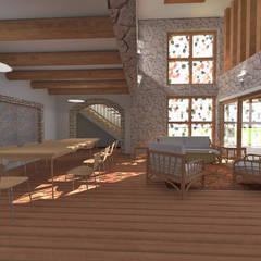 Casa de Campo en Jayanca Comedores de estilo rústico de ROQA.7 ARQUITECTURA Y PAISAJE Rústico Madera Acabado en madera
