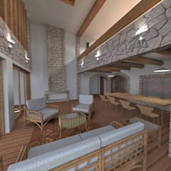 Estar recibidor - vista al comedor: Salas / recibidores de estilo rústico por ROQA.7 ARQUITECTOS