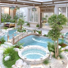 Interior the swimming pool of Katrina Antonovich:  Pool by Luxury Antonovich Design