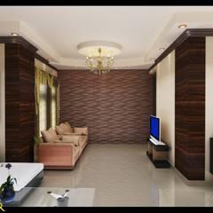 شقة بتصميم مصري:  غرفة المعيشة تنفيذ Etihad Constructio & Decor