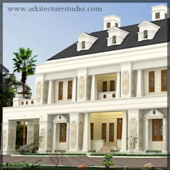 colonial style luxury indian home design _leading Architects in kerala _Arkitecture Studio:  Houses by Arkitecture studio,Architects,Interior designers,Calicut,Kerala india