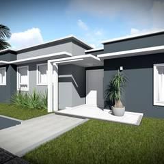 Acesso à residência - Fachada Rua A: Casas  por Aidê Arquitetura