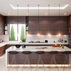 Diseño de cocina e interiores.: Cocinas de estilo  por HZH Arquitectura & Diseño
