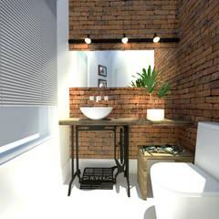 Lavabo Rústico: Banheiros  por Andressa Cobucci Estúdio