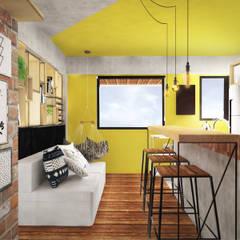 Loft do Músico: Salas de estar  por Andressa Cobucci Estúdio