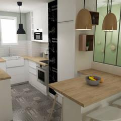 Rénovation d'un appartement toulousain des années 60: Cuisine de style  par ML architecture d'intérieur et décoration