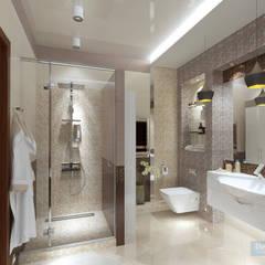 Дизайн-проект 4-х комнатной квартиры для семьи с двумя детьми: Ванные комнаты в . Автор – Студия интерьера Дениса Серова, Модерн