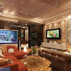 Гостиная комната 20 кв. м в современном стиле: Гостиная в . Автор – Студия интерьера Дениса Серова