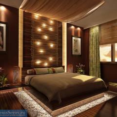 Дизайн-проект двухкомнатной квартиры 60 кв. м в современном стиле: Спальни в . Автор – Студия интерьера Дениса Серова, Азиатский