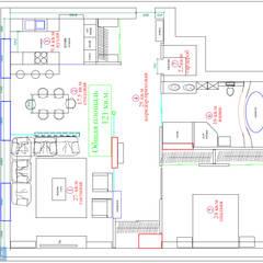 План трехкомнатной квартиры 121 кв. м: Стены в . Автор – Студия интерьера Дениса Серова