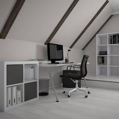 Salon / widok na strefę domowego biura: styl , w kategorii Domowe biuro i gabinet zaprojektowany przez KN.wnętrza