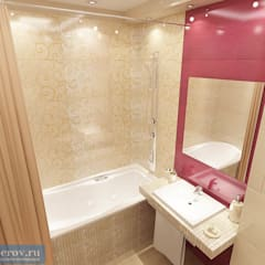 Ванная комната 4 кв. м в однокомнатной квартире, современный стиль: Ванные комнаты в . Автор – Студия интерьера Дениса Серова