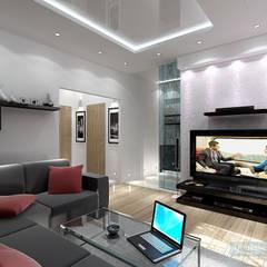 Дизайн-проект однокомнатной квартиры 45 кв. м в стиле минимализм: Гостиная в . Автор – Студия интерьера Дениса Серова