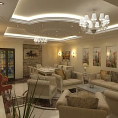 تشطيب شقة زهراء المعادي :  غرفة المعيشة تنفيذ الرواد العرب