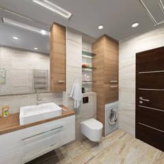 """""""Для любимых"""". Пятикомнатная квартира для семьи из трёх человек.: Ванные комнаты в . Автор – ARTWAY центр профессиональных дизайнеров и строителей,"""