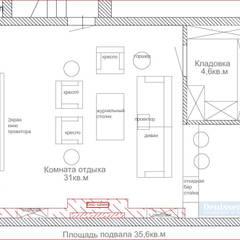 План подвального этажа дома с зоной отдыха: Стены в . Автор – Студия интерьера Дениса Серова
