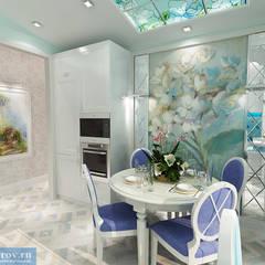 Кухня-столовая и балкон в классическом современном стиле: Столовые комнаты в . Автор – Студия интерьера Дениса Серова