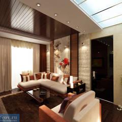 Зона гостиной в однокомнатной квартире, современный стиль: Гостиная в . Автор – Студия интерьера Дениса Серова