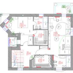 План второго этажа загородного коттеджа: Стены в . Автор – Студия интерьера Дениса Серова