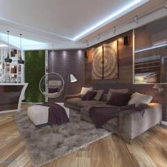 Гостиная 18 кв. м в современном стиле: Гостиная в . Автор – Студия интерьера Дениса Серова