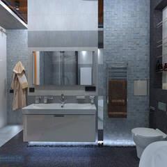 Дизайн-проект двухкомнатной квартиры 90 кв. м в современном стиле: Ванные комнаты в . Автор – Студия интерьера Дениса Серова,