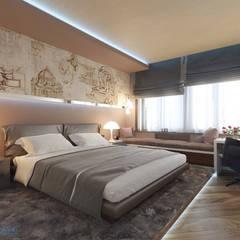 Спальня 16 кв. м в современном стиле: Спальни в . Автор – Студия интерьера Дениса Серова
